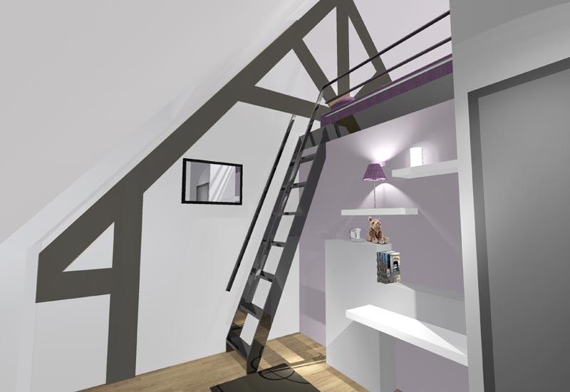 Architecture intérieur, aménagement de combles - Vue 3